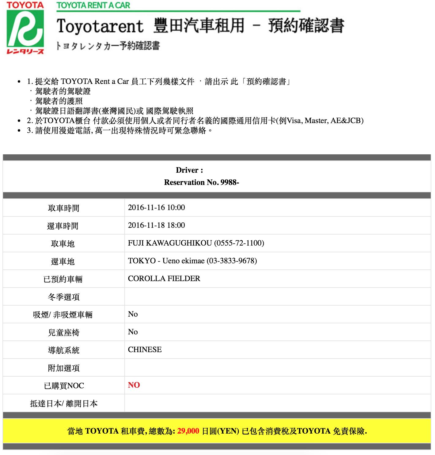 toyota rental car 日本租車