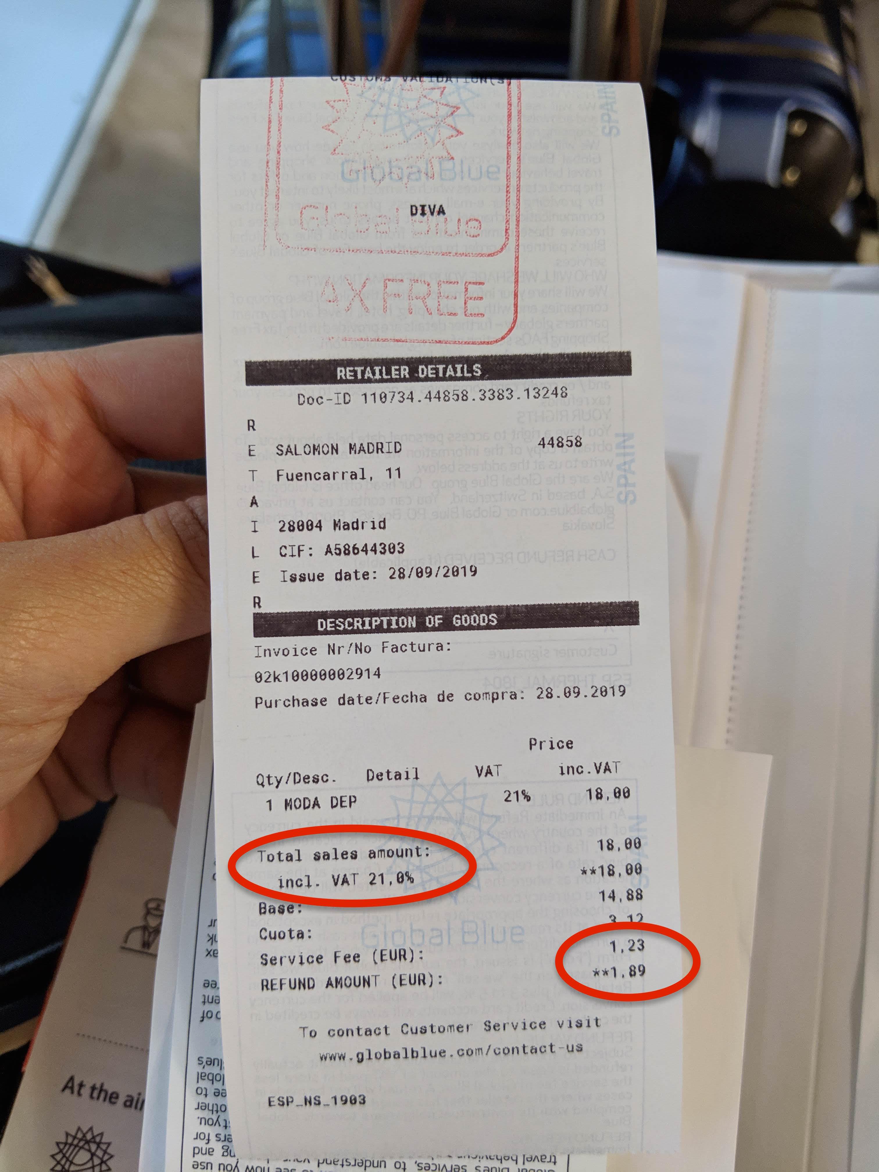 西班牙馬德里機場退稅tax diva退稅refund