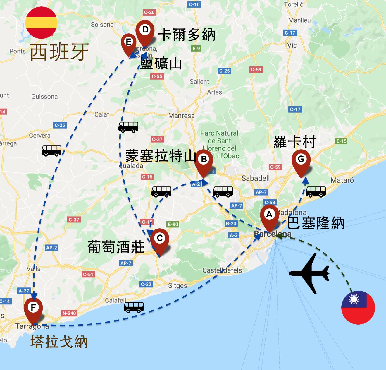 巴塞隆納深度團十日地圖路線行程map