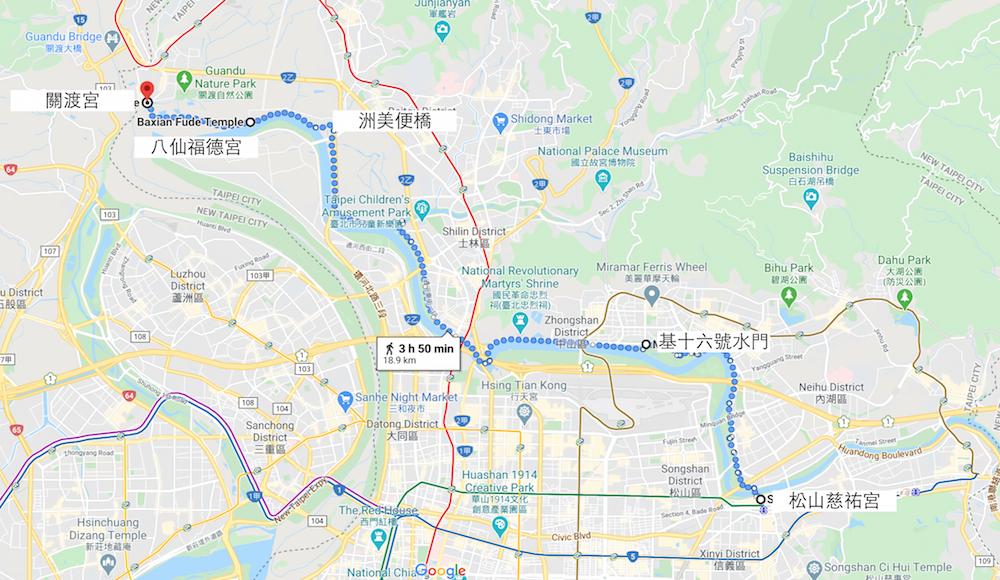 松山到淡水關渡徒步走路健行