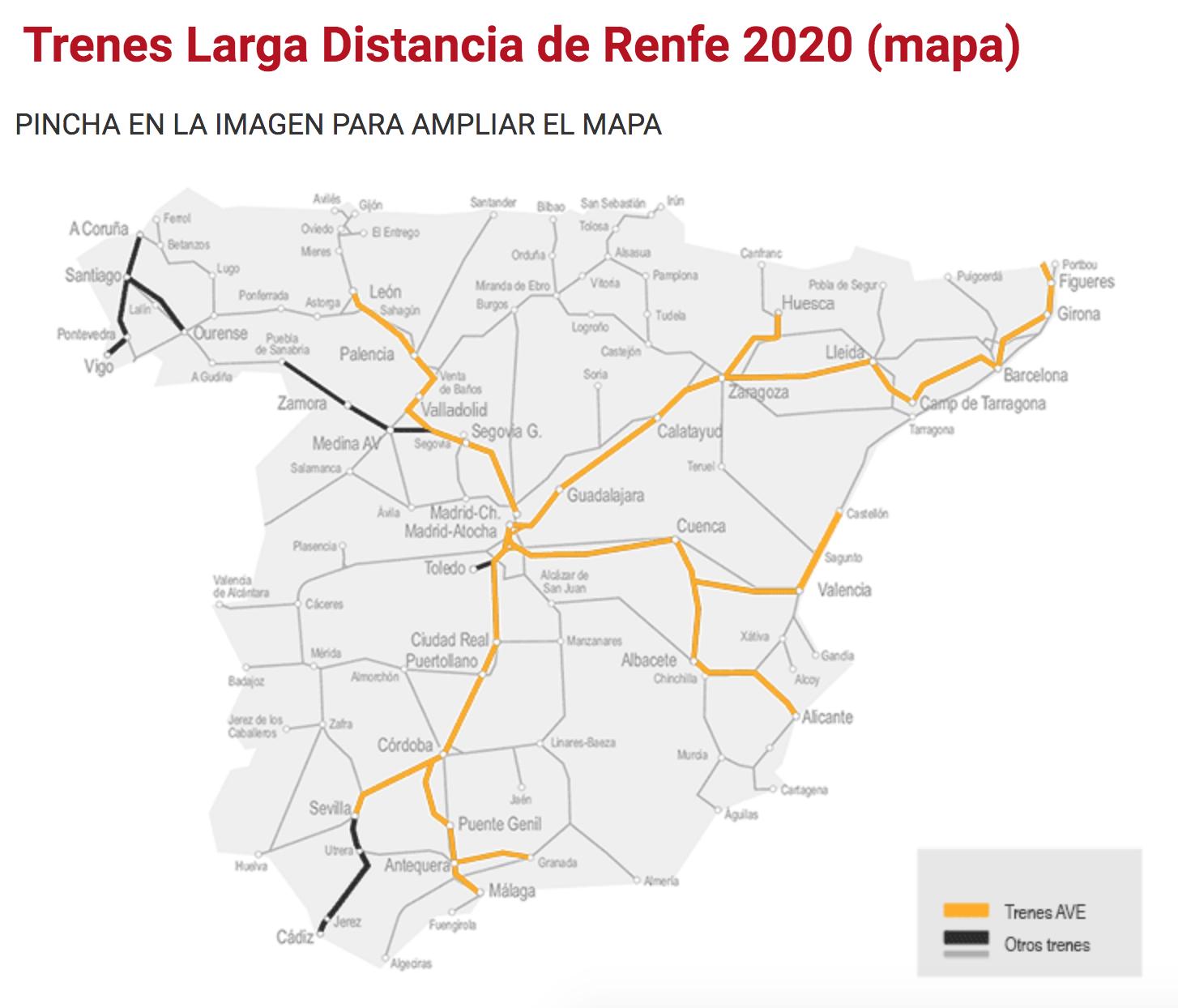 西班牙國鐵renfe火車交通地圖