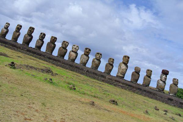 智利復活島。Ahu Tongariki。15尊moai 一字排開。誠意無限
